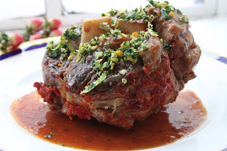 Osso Bucco Served with Two Amigos Wines 2011 Tirare il Dito
